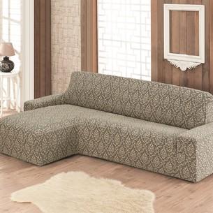 Чехол на угловой диван левосторонний Karna MILANO бежевый