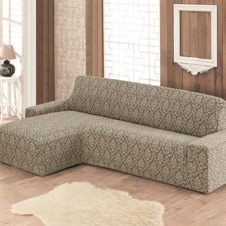 Чехол на угловой диван левосторонний Karna MILANO (бежевый)