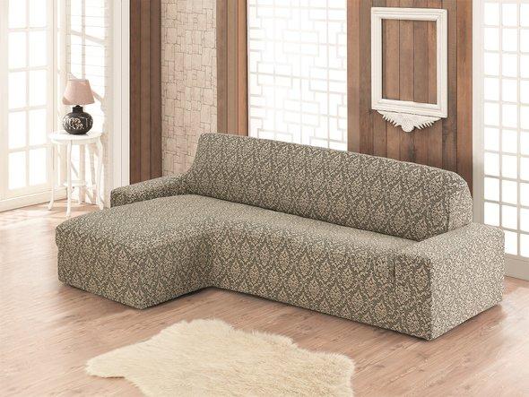 Чехол на угловой диван левосторонний Karna MILANO (бежевый), фото, фотография