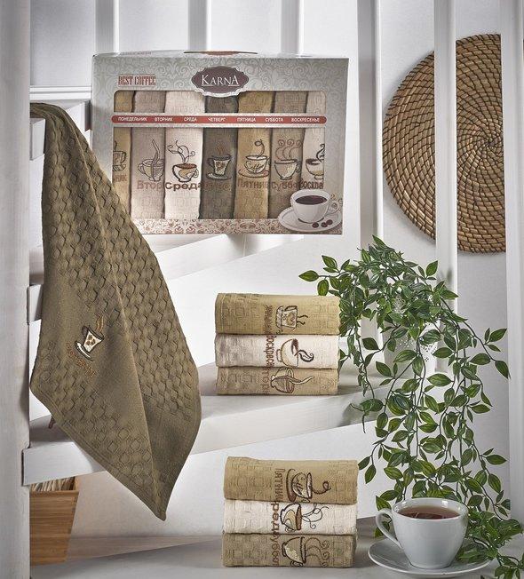 Набор кухонных полотенец 45*65(7) Karna DEVON хлопковая вафля, фото, фотография
