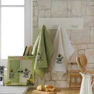 Набор кухонных полотенец Karna LAMA хлопковая вафля (оливки, V2)