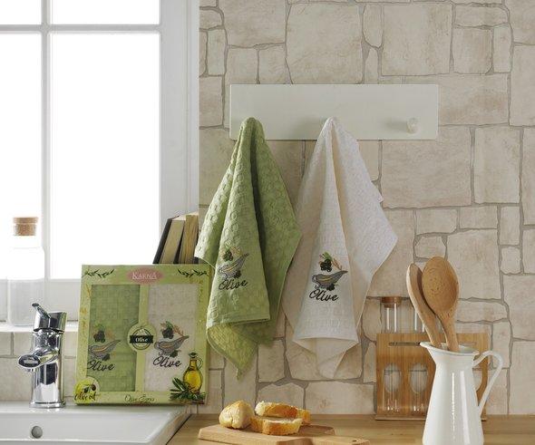 Набор кухонных полотенец Karna LAMA хлопковая вафля (оливки, V2), фото, фотография