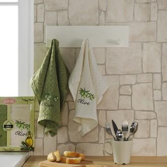 Набор кухонных полотенец Karna LAMA хлопковая вафля (оливки, V1)