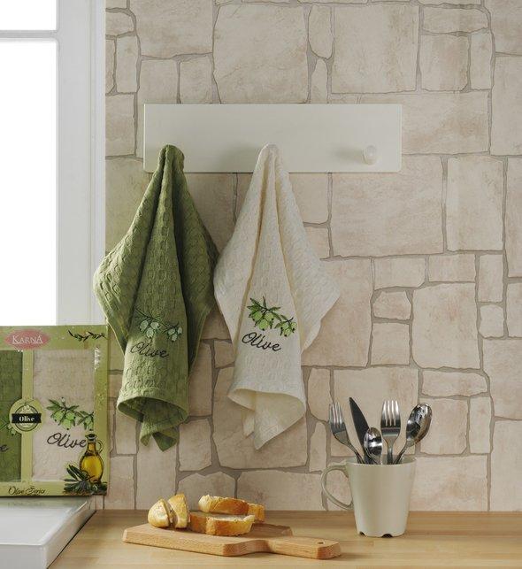 Набор кухонных полотенец Karna LAMA хлопковая вафля (оливки, V1), фото, фотография