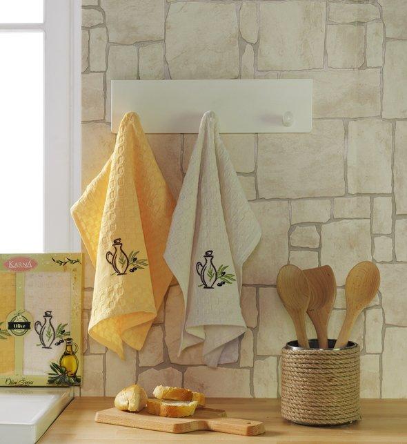 Набор кухонных полотенец Karna LAMA хлопковая вафля (оливки, V3), фото, фотография