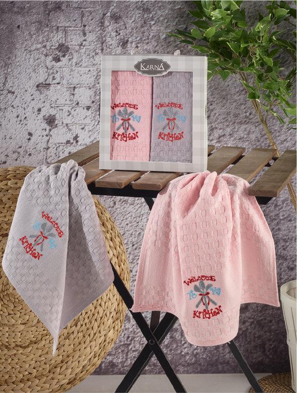 Набор кухонных полотенец Karna EKE хлопковая вафля (V3), фото, фотография