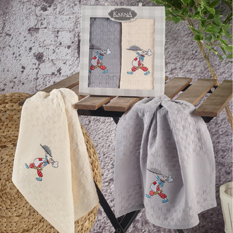 Набор кухонных полотенец Karna EKE хлопковая вафля (V1)