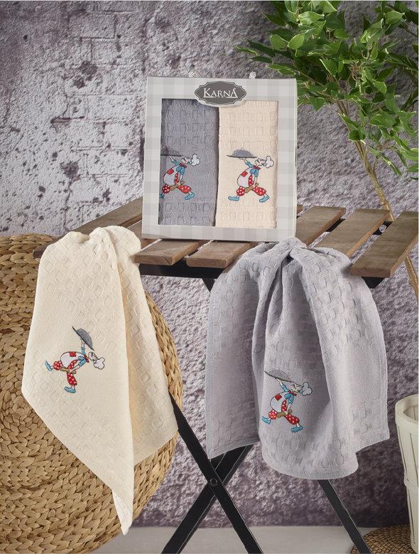 Набор кухонных полотенец Karna EKE хлопковая вафля (V1), фото, фотография