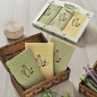 Подарочный набор кухонных полотенец Karna LAMA хлопковая вафля (V1)