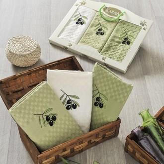 Подарочный набор кухонных полотенец Karna LAMA хлопковая вафля (V2)