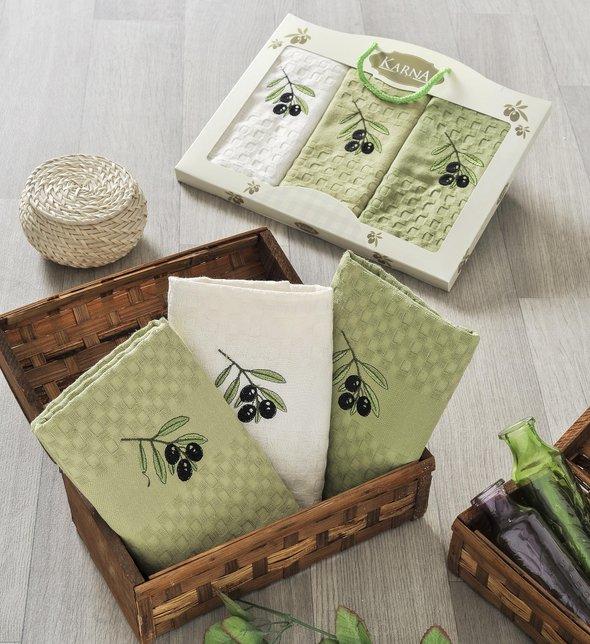 Подарочный набор кухонных полотенец Karna LAMA хлопковая вафля (V2), фото, фотография