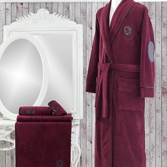 Халат мужской Soft Cotton LUXURE хлопковая махра бордовый