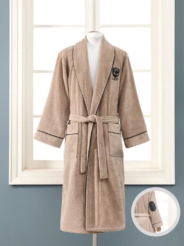 Халат мужской Soft Cotton LUXURE хлопковая махра коричневый M, фото, фотография