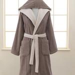 Халат женский Soft Cotton LEAF хлопковая махра коричневый M, фото, фотография