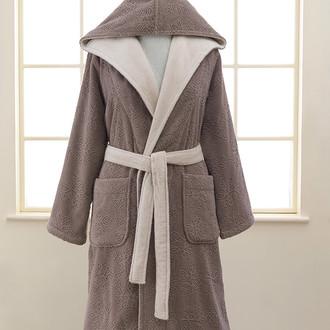 Халат женский Soft Cotton LEAF хлопковая махра коричневый