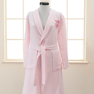 Халат женский Soft Cotton ANEMONE хлопковая вафля/махра розовый