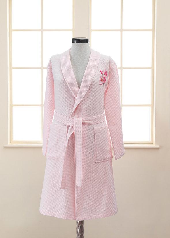 Халат женский Soft Cotton ANEMONE хлопковая вафля/махра розовый S, фото, фотография