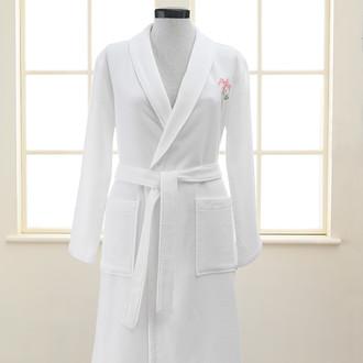 Халат женский Soft Cotton ANEMONE хлопковая вафля/махра (белый)