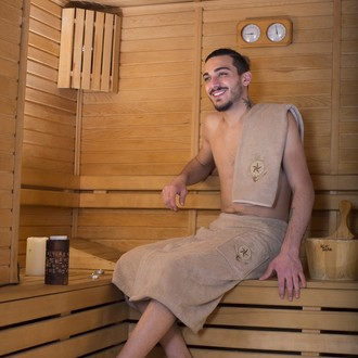 Набор для сауны мужской Karna BAREL махра хлопок (бежевый)