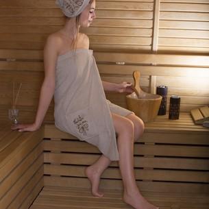 Набор для сауны женский Karna ARVEN махра хлопок молочный