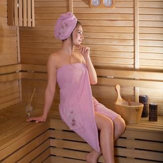 Набор для сауны женский Karna ARVEN махра хлопок розовый