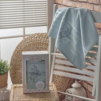 Полотенце банное в подарочной упаковке 50*90 Karna PAPILON махра хлопок (ментол)