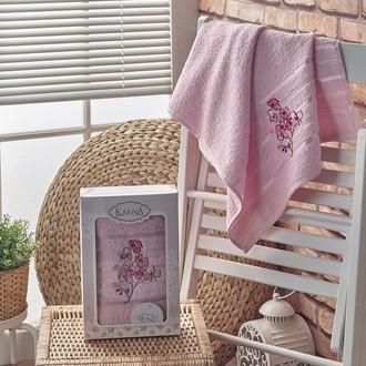 Полотенце банное в подарочной упаковке 50*90 Karna PAPILON махра хлопок (светло-розовый)
