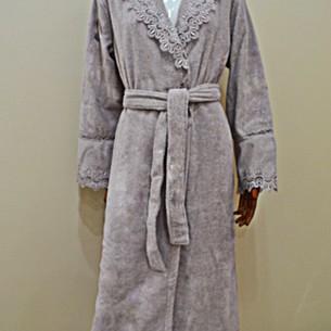 Халат женский Soft Cotton VICTORIA хлопковая махра сиреневый L