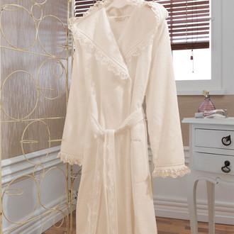 Халат женский Soft Cotton LUNA хлопковая махра (экрю)