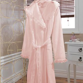 Халат женский Soft Cotton LUNA хлопковая махра розовый