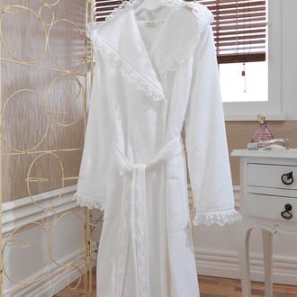 Халат женский Soft Cotton LUNA хлопковая махра (белый)