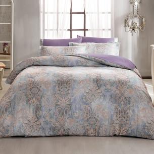 Постельное белье Tivolyo Home GATSBY сатин, жатый шёлк фиолетовый евро