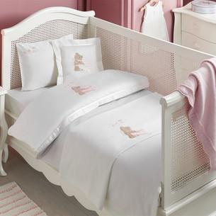 Детское постельное белье для новорожденных с пледом Tivolyo Home POURTOL BEBE хлопковый сатин розовый