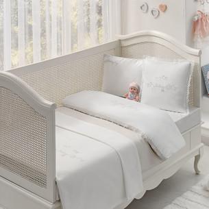 Постельное белье для новорожденных с пледом-пике Tivolyo Home COUPLE BEBE хлопковый сатин делюкс бежевый