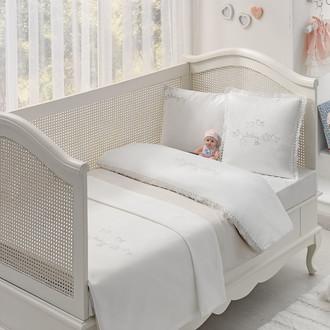 Комплект детского постельного белья для новорожденных с пледом Tivolyo Home COUPLE BEBE хлопковый сатин (бежевый)