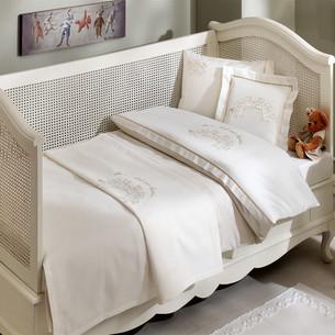 Детское постельное белье для новорожденных с пледом Tivolyo Home FAMILY BEBE хлопковый сатин бежевый