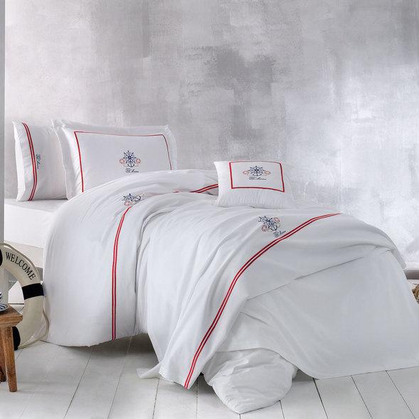 Комплект постельного белья Tivolyo Home NAVY хлопковый люкс-сатин евро, фото, фотография