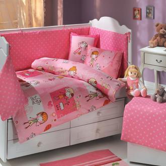 Набор в детскую кроватку Hobby Home Collection CITY GIRL хлопковый поплин (розовый)