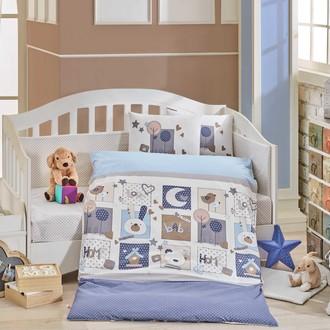 Набор в детскую кроватку Hobby Home Collection SWEET HOME хлопковый поплин синий
