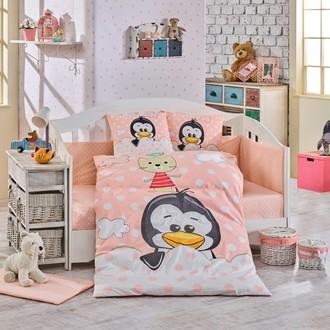 Набор в детскую кроватку Hobby Home Collection PENGUIN хлопковый поплин персиковый