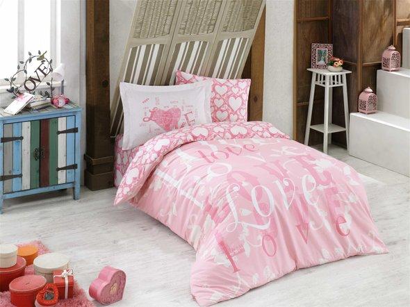 Комплект постельного белья Hobby Home Collection LOVE хлопковый поплин (розовый) 1,5 спальный, фото, фотография