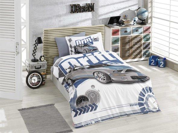Комплект постельного белья Hobby Home Collection DRIFT хлопковый поплин (синий) 1,5 спальный, фото, фотография