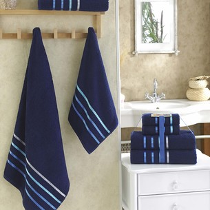 Подарочный набор полотенец для ванной Karna BALE хлопковая махра 50х80 2 шт., 70х140 2 шт. синий