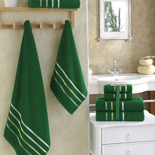 Подарочный набор полотенец для ванной Karna BALE хлопковая махра 50х80 2 шт., 70х140 2 шт. тёмно-зелёный