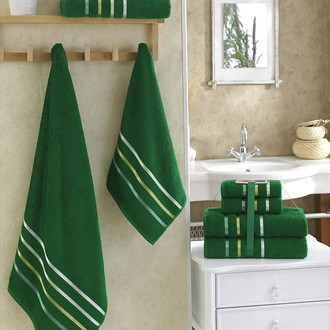 Подарочный набор полотенец для ванной Karna BALE хлопковая махра 50*80(2), 70*140(2) (тёмно-зелёный)