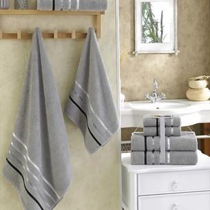 Подарочный набор полотенец для ванной Karna BALE хлопковая махра 50х80 2 шт., 70х140 2 шт. серый