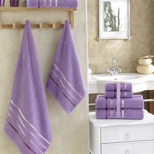 Подарочный набор полотенец для ванной Karna BALE хлопковая махра 50х80 2 шт., 70х140 2 шт. сиреневый