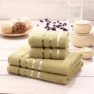 Подарочный набор полотенец для ванной Karna BALE хлопковая махра 50х80 2 шт., 70х140 2 шт. зелёный