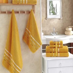 Подарочный набор полотенец для ванной Karna BALE хлопковая махра 50х80 2 шт., 70х140 2 шт. тёмно-жёлтый