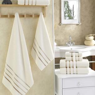 Подарочный набор полотенец для ванной Karna BALE хлопковая махра 50х80 2 шт., 70х140 2 шт. кремовый